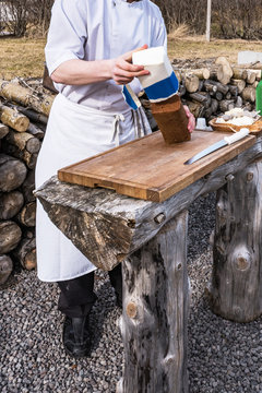 self-made bread baked with geothermal heat at haukadalur, iceland
