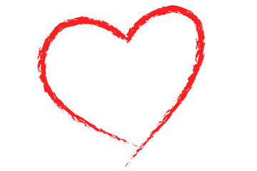 heart illustration drawing in red on white