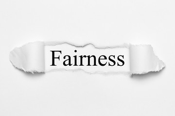 Fairness on white torn paper