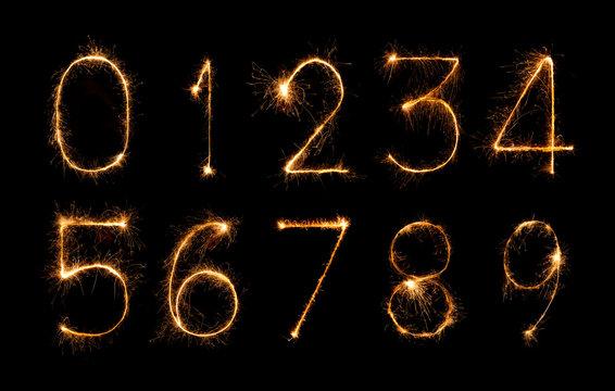 digit set of firework sparklers