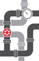 pipe with valve vector illustration (pipeline design)