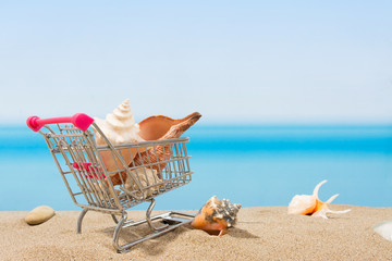 Summer signings, shopping travel. Cart on the beach