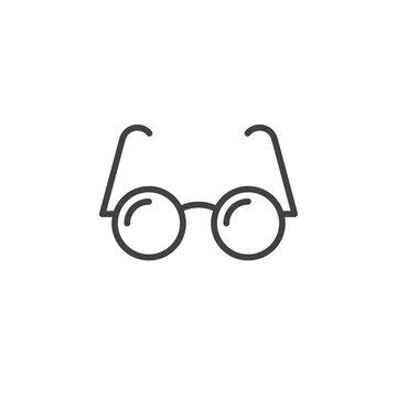eyeglasses line icon, outline glasses vector logo illustration, linear pictogram isolated on white