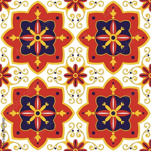 Tile pattern vector seamless with flowers motifs azulejo tile pattern vector seamless with flowers motifs azulejo portuguese tiles spanish mexican voltagebd Gallery