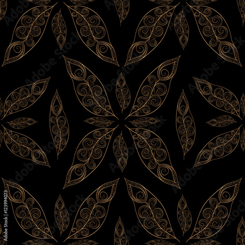 Gold Black Feathers Pattern Seamless Indian Golden Peacock Feather Vector Print For Fashion Design