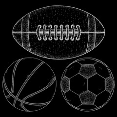 Sports balls. Soccer, football, basketball. Hand drawn sketch