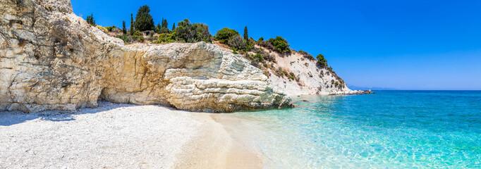 Panoramic beach landscape on Zakynthos Island in Greece