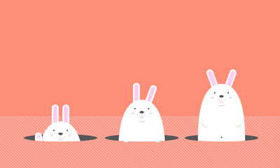 cute big fat white Easter rabbit come out of the hole on orange background