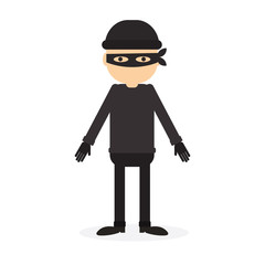 Isolated criminal person on white background. Cartoon robber or thief with black outfit and mask.