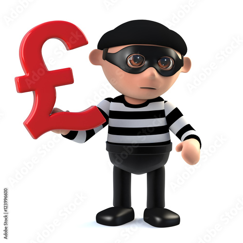 3d Burglar Has Uk Pounds Sterling Currency Symbol Stock Photo And