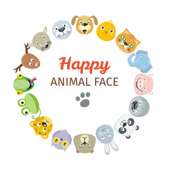 Collection of Cute Animal Faces. Animal Head Icons