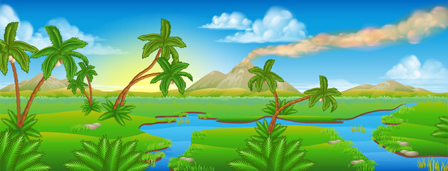 Cartoon Prehistoric Background Scene Landscape