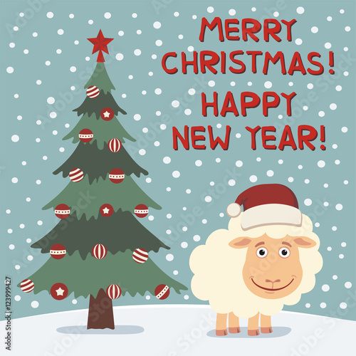 merry christmas and happy new year funny sheep near christmas tree card in cartoon
