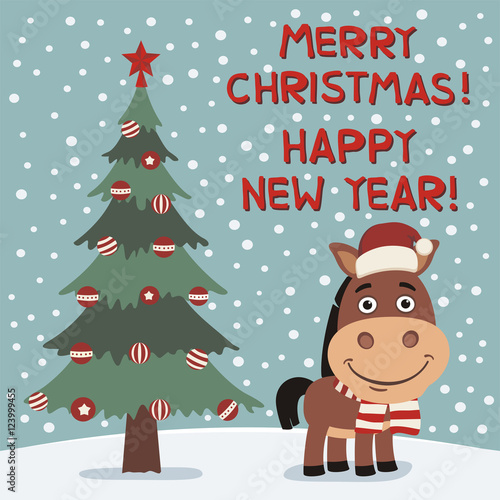 merry christmas and happy new year funny horse near christmas tree card in cartoon