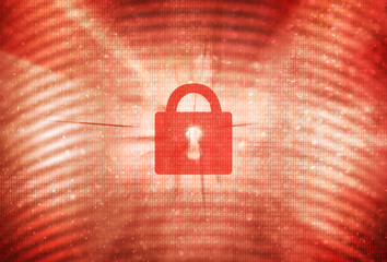 Abstract closed padlock with red colored binary number code background. Conceptual safety internet data illustration background.