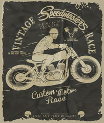 vector retro motorbike race print