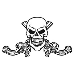 skull with crossed guns