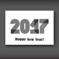Happy New 2017 Year, modern design black on white background, year 2017 in thin lines striped minimalist, numbers written with a pen, vector illustration