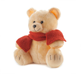 Teddy bear in a knitted scarf isolated on white background