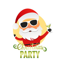 Christmas Party. Santa Claus cartoon character with cocktail and sunglasses. Merry Christmas illustration