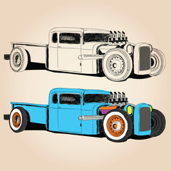 vector hot rod car hand made designs print