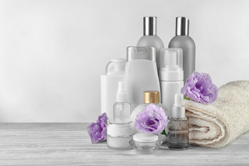 set of body care cosmetics on white background