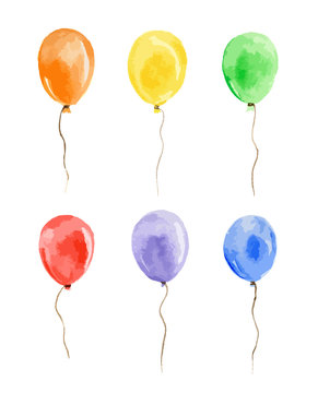 Watercolor balloons set on white background. Beautiful and colorful balloons for decoration for holidays.