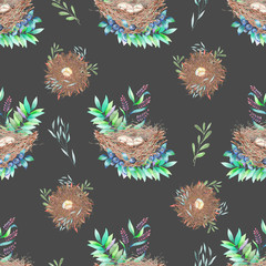Seamless pattern with watercolor bird nests with eggs, in plants and berries, hand drawn isolated on a dark background