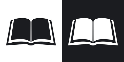 Open Book Icon Stock Vector Two Tone Version On Black And White