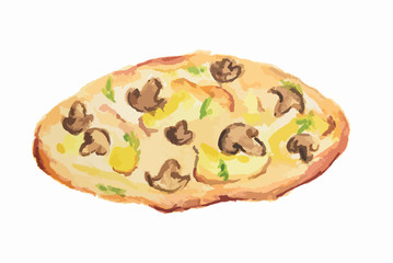 Isolated watercolor pizza on white background. Tasty italian snack or street food. Italian cuisine. Pizza with mushrooms.