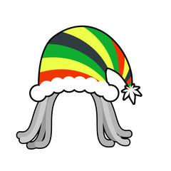 Rasta cap for Santa Claus. Rastaman dreadlocks festive hat. Regg