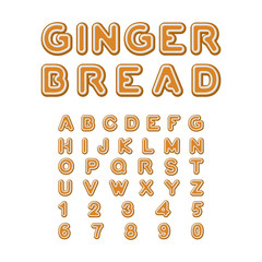 Gingerbread font. Christmas cookie Alphabet . Mint Cookies ABC.