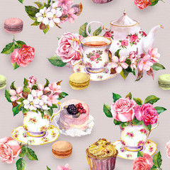 Flowers, tea cup, cakes, macaroons, pot. Watercolor. Seamless background