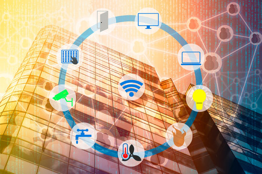 Smart Building and Internet of Things concept. Smart building management icons on Double exposure of office building and abstracy digital connection background.