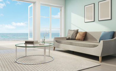 Wall Mural - Sea view living room in beach house - 3D rendering
