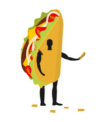 Taco man mascot promoter. Male in costume fried tortilla distrib