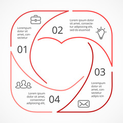 Vector heart circle linear infographic. Template for love cycle diagram, graph, presentation, round chart. Business concept with 4 options, parts, steps, processes. Happy Valentines Day.