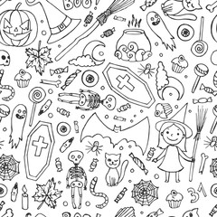 Sketchy fun vector hand drawn doodle cartoon pattern on the Halloween theme.