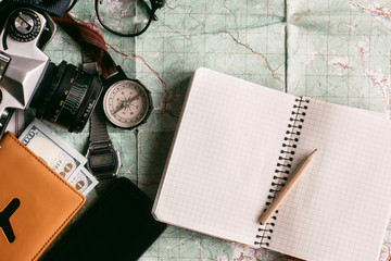 wanderlust and adventure concept, compass camera phone  passport