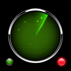 Green radar screen with targets and signal lamp, vector illustration