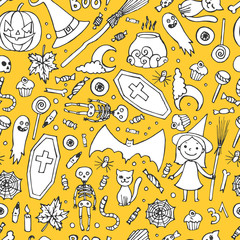 Sketchy colorful fun vector hand drawn doodle cartoon pattern on the Halloween theme.