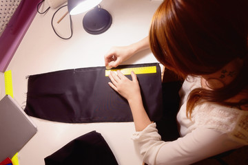 Sewing Chalk marking on Black fabric and measuring tape