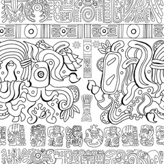 Seamless background with mayan patterns and symbols on white