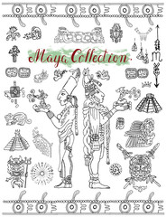 Set with Mayan mystic symbols, icons and indian people