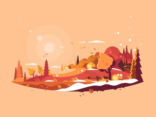 Landscape autumn vector