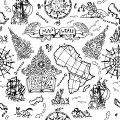 Seamless background with atlas map details, ships and old nautical symbols