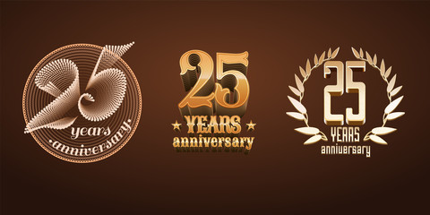 25 years anniversary set of vector logo, icon, number