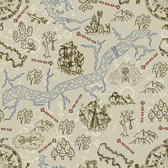 Seamless background with treasure hunt map, ship and pirate symbols