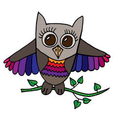 Colorful cute owl sits on a branch with leaves