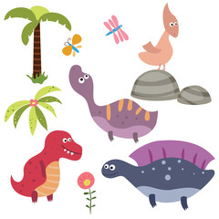 Set funny dinosaurs